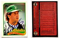 Ron Hassey Signed 1989 Topps #272 Card Oakland Athletics Auto Autograph