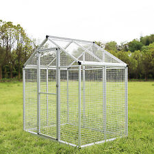 LARGE Heavy Duty Bird Cage Walk In Aviary Parrot PlayTop Pet House White New
