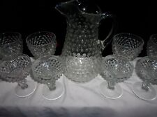 Duncan Miller 8 Hobnail / Thousand Eye Goblets With RARE Thousand Eye Pitcher