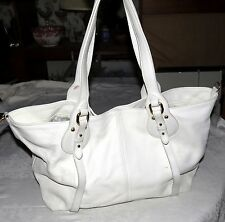 Furla Large White Handbag Hold-all with Metal Findings
