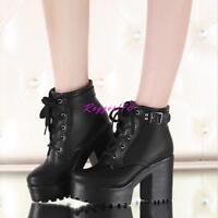 Womens lady chunky heel  platform lace-up punk goth creeper ankle boots shoes