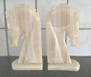 Pair Vintage Marble Stone Horse Head Bookends Set Book Ends