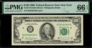 1990 $100 Federal Reserve Note - New York - FR. 2173-B - Graded PMG 66 EPQ