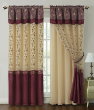 """Burgundy Window Curtain Drapery Panel w/ Attached Backing and Valance 57""""x90"""""""