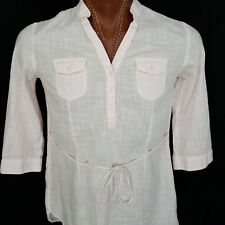TOMMY HILFIGER Women's Long Shirt Button Top Side Ties Pink 100% Cotton M