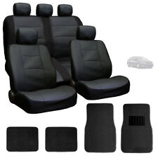 FOR KIA NEW PREMIUM BREATHABLE BLACK SYN LEATHER CAR SEAT COVERS MATS SET