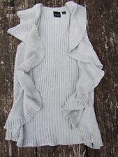 TRIBAL Women's Gray Sleeveless Sweater Vest Jacket Ruffle Size S