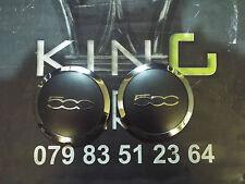 2 X GENUINE FIAT 500 ALLOY WHEEL CENTER CAP COVER CHROME + MATTE BLACK 51884863
