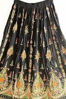 Indian Long Sequin Skirt Boho Bollywood Belly Dance Hippie Gypsy Black