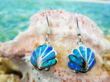 REAL STERLING SILVER INLAY BLUE OPAL SCALLOP DANGLE EARRINGS
