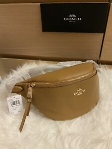 NWT ❤️ COACH F48738 Pebble Leather Belt Bag Fanny Pack Light Saddle $298