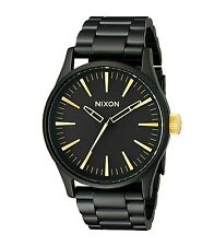 New Nixon Sentry SS Black Dial Black PVD Stainless Steel Mens Watch A4501041