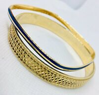 Lot of 2 TRIFARI Bangle Bracelets Gold Plated Square Enamel Vintage Jewelry