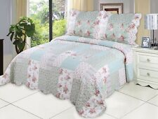 English Roses Bedding Quilt Bedspread Coverlet 3 Piece Reversible Full Queen Set
