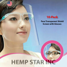 10 Pack Face Transparent Shield Screen with Glasses/Mask guard protection US