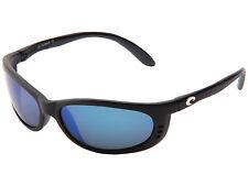 COSTA DEL MAR Fathom Sunglasses Matte Black Frames Blue Mirror 580G Glass Lenses