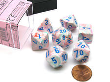 Polyhedral 7-Die Festive Chessex Dice Set - Pop Art with Blue Numbers