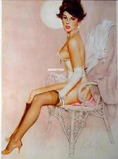 FRITZ WILLIS 2-SIDED PIN-UP POSTER 2 BRALESS GIRLS IN SEXY LINGERIE PINUP ART!