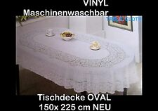 150 X 225 cm Ovale Blanc Vinyle Nappe Couverture de Protection Motif Floral Neuf