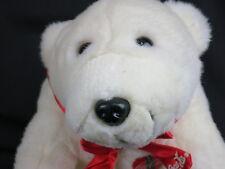 """Coca-Cola Winter Commercial Polar Bear 1997 Red Bow Coke Button Plush Animal 11"""""""