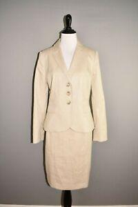 ANN TAYLOR NEW $240 Beige 2 Piece Linen Blend Skirt Suit Size 6P - 8P
