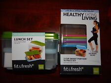 2 Sets - Fit and Fresh Containers - Lunch Set + 2 Cup Smart Portion