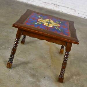 Catalina California or Mission Arts & Crafts Style Spanish Tile Top Side Table