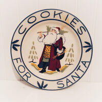 "Homer Laughlin Vintage 8"" Plate ""Cookies for Santa"" Painted by M. Stanford"