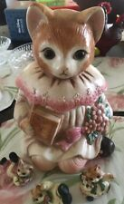 Vintage  PINK CAT COOKIE JAR Glass Eyes Plus 3 Matching Cat Figurines Japan