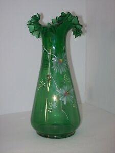 TALL GREEN HAND BLOWN GLASS HANDPAINTED VASE W/ RIPPLED RUFFLES