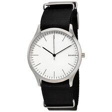 Skagen Jorn White Dial Mens Black Nylon Watch SKW6363