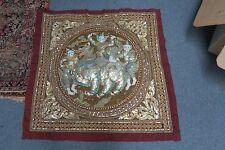 "Vintage Burmese Kalaga Tapestry Metallic Beaded Embroidery Dragon Lion Myth 31"""