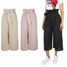 2705813b0824b6 Pantalone Donna Casual 100% Cotone Cropped Vita Alta Cintura VEQUE