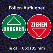 ZIEHEN und DRÜCKEN Aufkleber, Türschild, Warnschild, Sticker Rot Grün