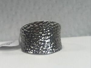 Sterling Silver Hammered Cigar Band Ring Size 8