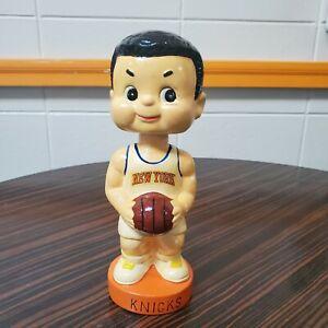 """1960's New York Knicks White Bobblehead Noddler Coin Bank 9"""" Ceramic Japan"""