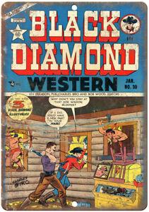 "Black Diamond Western No 30 Comic Book Art 10"" x 7"" Reproduction Metal Sign J623"