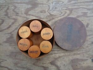 Antique round wooden spice box with 6 individual spice containers