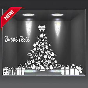 vetrofanie natalizie adesivo per vetrine casa albero di Natale pacchi a0699