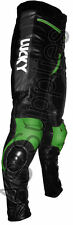 """LUCKY STRIKE"" New Black/Green Leather Motorcycle Trousers Pants - All sizes!"