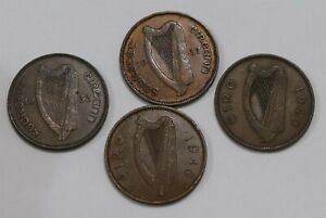 IRELAND HALF PENNY 1933/37/40 & 1946 B34 XJ41