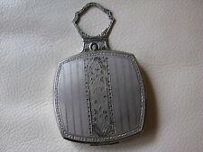 Antique Silver T Enamel Floral Swivel Bale Finger Ring1920s Dance Compact EVANS