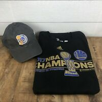 ADIDAS Golden State Warriors 2017 NBA Championship T-Shirt 2XL & Hat