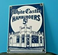 VINTAGE WHITE CASTLE PORCELAIN FAST FOOD BURGER RESTAURANT DRIVE THRU SIGN