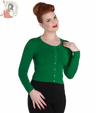 HELL BUNNY 50's PALOMA rockabilly CARDIGAN PLAIN GREEN