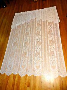 "VINTAGE LACE Curtain Panels Rose W/Valence (2) PANELS White 82"" L x 58"" W"