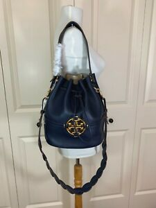BRAND NEW Tory Burch Navy Leather Miller Bucket Bag