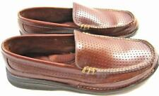 HS TRASK Men's Perforated Moccasin Loafer Driving Shoe Brown Leather Size 8 M