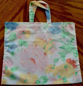 New Handmade Reusable Fabric Cloth SMALL TOTE BAG: Gift Book Lunch PASTEL FLORAL