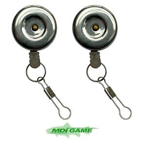 Pack of 2 MDI Anglers Stainless Steel Pin-on Retractor Fishing Zinger with Clip